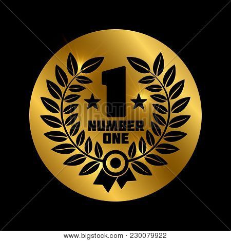 Black Number One Label On Shiny Gold Background - Winner Concept Icon. Vector Illustration