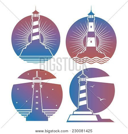 Modern Bright Lighthouses Emblems Or Logos Of Collection. Vector Illustration