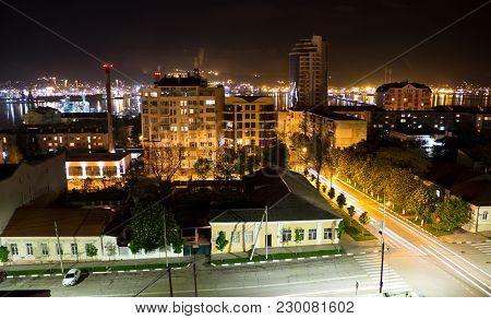Russia, Novorossiysk - May 8, 2015: Views Of Novorossiysk Night. Novorossiysk Is A Major Sea Port In