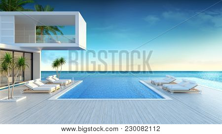 Beach Lounge, Sun Loungers On Sunbathing Deck And Private Swimming Pool With  Panoramic Sea View At