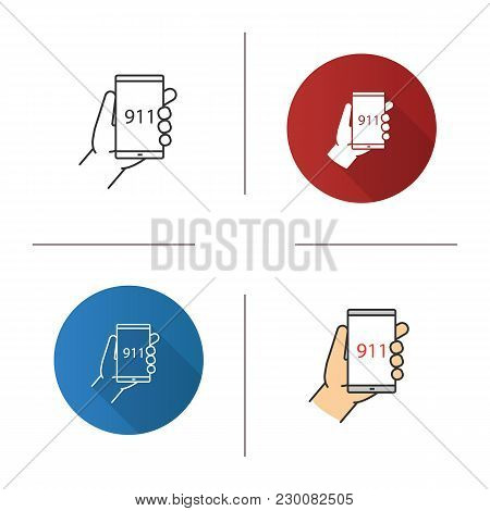 Emergency Calling Icon. Flat Design, Linear And Color Styles. Hand Holding Smartphone With 911 Numbe