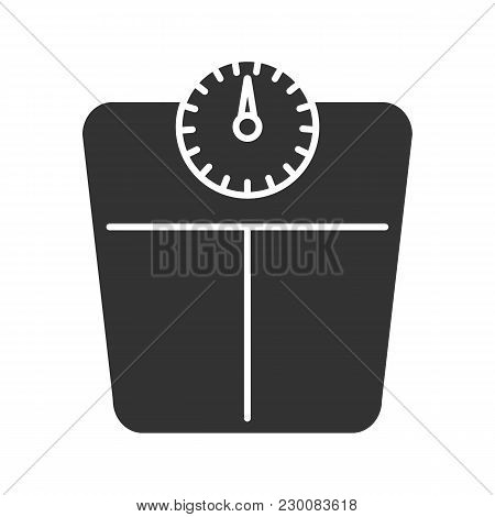 Bathroom Scales Glyph Icon. Floor Scales. Mass Measuring Device. Silhouette Symbol. Negative Space.