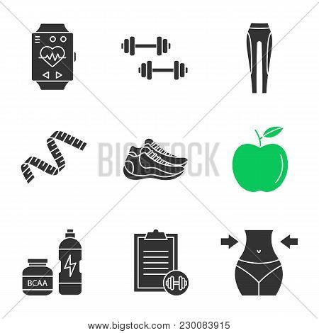 Fitness Glyph Icons Set. Sport Bracelet, Dumbbells, Leggings, Measuring Tape, Apple, Sneakers, Bcaa