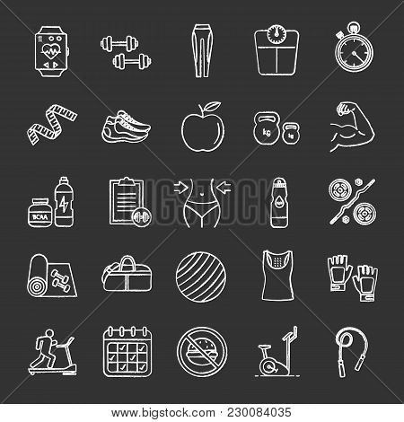 Fitness Chalk Icons Set. Sports Equipment. Exercise Machines, Barbells, Dumbbells, Clothes. Isolated