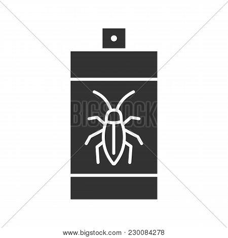 Roaches Bait Glyph Icon. Cockroach Repellent Spray. Pest Control. Silhouette Symbol. Negative Space.
