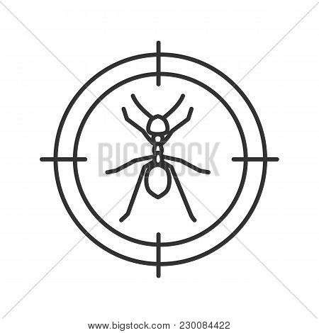 Ants Target Linear Icon. Insects Repellent. Pest Control. Thin Line Illustration. Contour Symbol. Ve