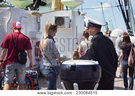 Kaliningrad, Russia - June 19, 2016: Unknown Cadet Of The Kaliningrad Marine Fisheries College On Th