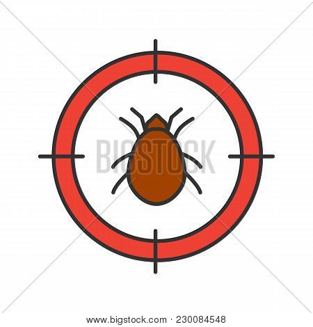 Mite Target Color Icon. Parasitic Insects Repellent. Isolated Vector Illustration