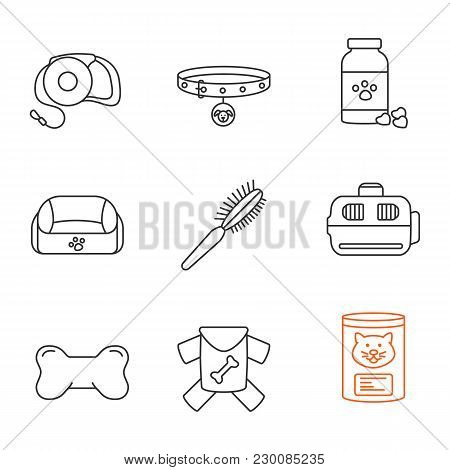 Pets Supplies Linear Icons Set. Pets Lead, Dog Collar, Veterinary Pills, Animal Bed, Fur Brush, Carr