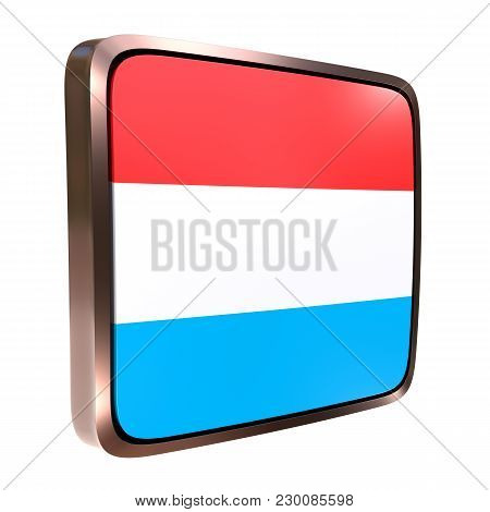 3d Rendering Of A Luxembourg Flag Icon With A Metallic Frame. Isolated On White Background.
