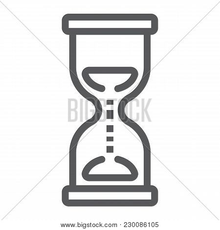 Hourglass Line Icon, Development And Business, Deadline Sign Vector Graphics, A Linear Pattern On A