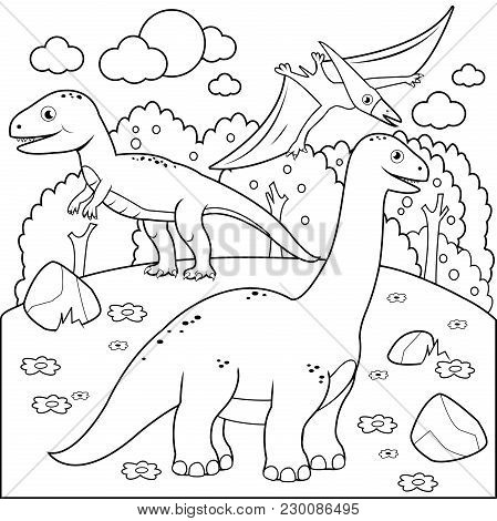 Prehistoric Landscape With Dinosaurs. Black And White Coloring Book Page