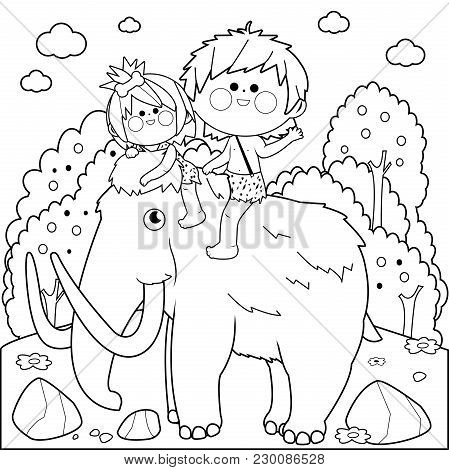 Prehistoric Landscape With Children Riding A Mammoth. Black And White Coloring Book Page