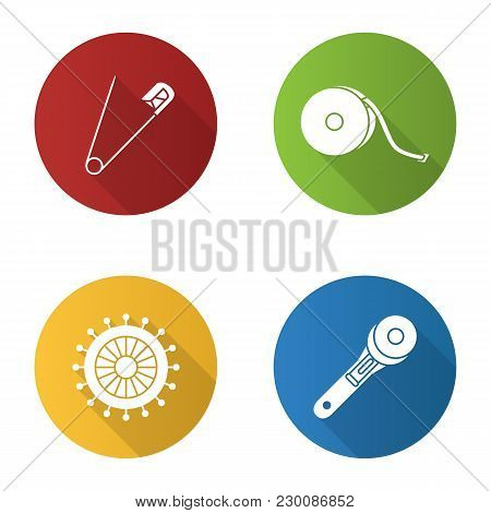 Tailoring Flat Design Long Shadow Glyph Icons Set. Safety And Straight Pins, Measuring Tape, Rotary