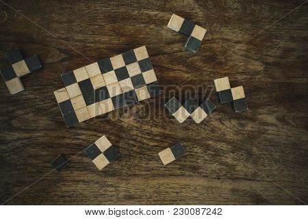 Cubic Wood Block Puzzle Game. Education And Leisure Concept. Growth, Success & Development In Busine