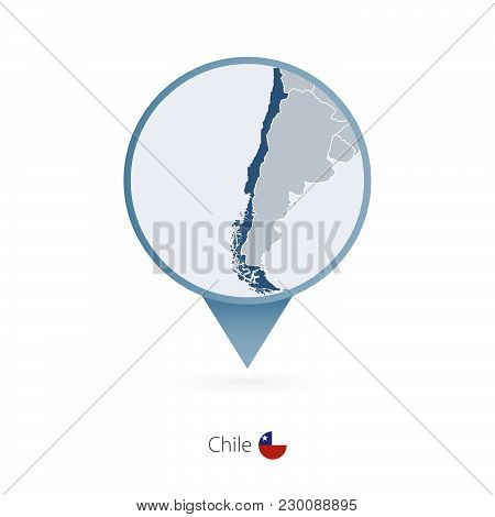 Map Pin With Detailed Map Of Chile And Neighboring Countries.