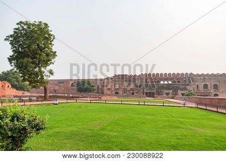 Agra, India - November, 2017: View Of The Red Fort Of Delhi Where The Mughal Emperor Shah Jahan And
