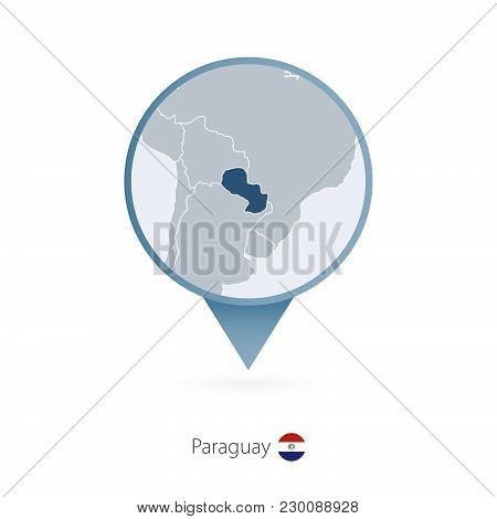 Map Pin With Detailed Map Of Paraguay And Neighboring Countries.