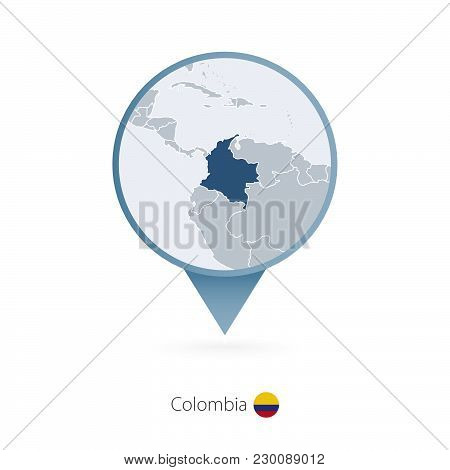 Map Pin With Detailed Map Of Colombia And Neighboring Countries.