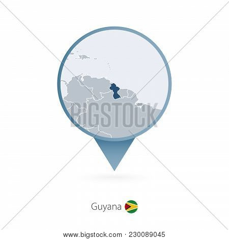 Map Pin With Detailed Map Of Guyana And Neighboring Countries.