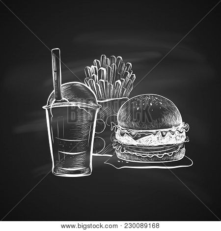 Big Hamburger Or Cheeseburger, Soda Cup With Straw And Lid And French Fries. Isolated On A Chalkboar