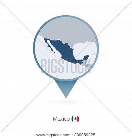Map Pin With Detailed Map Of Mexico And Neighboring Countries.