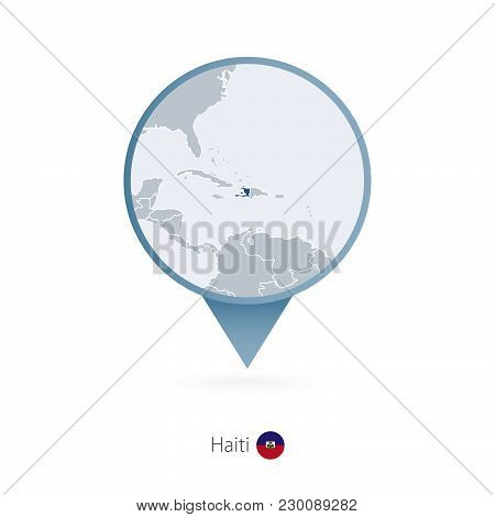 Map Pin With Detailed Map Of Haiti And Neighboring Countries.