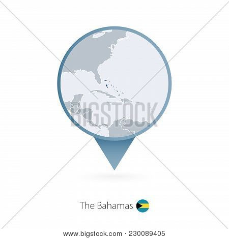 Map Pin With Detailed Map Of The Bahamas And Neighboring Countries.