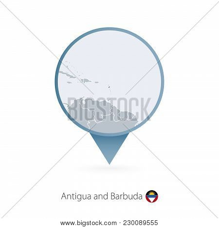 Map Pin With Detailed Map Of Antigua And Barbuda And Neighboring Countries.