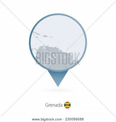 Map Pin With Detailed Map Of Grenada And Neighboring Countries.