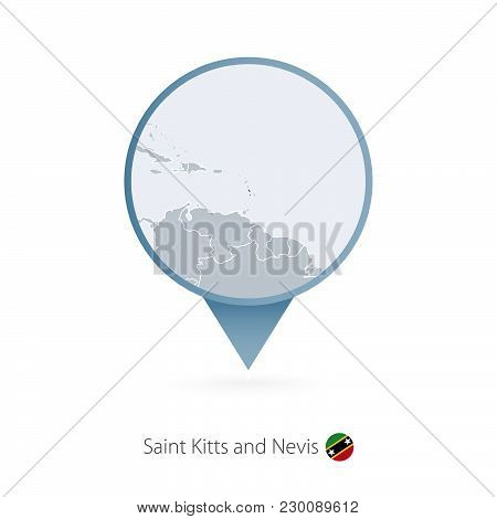 Map Pin With Detailed Map Of Saint Kitts And Nevis And Neighboring Countries.