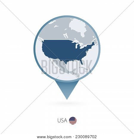 Map Pin With Detailed Map Of United States Of America And Neighboring Countries.