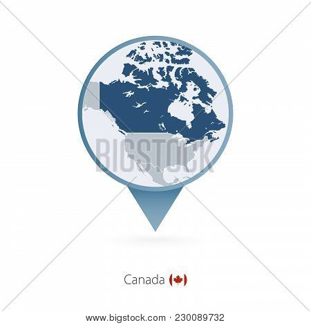 Map Pin With Detailed Map Of Canada And Neighboring Countries.