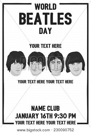 November 19.2017 . Editorial Illustration Of The Beatles . World Beatles Day On January 16 Topic.