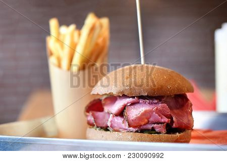 Pastrami Sandwich Served With Potato Chips
