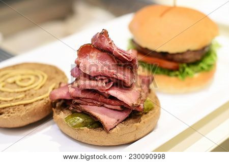 Open Pastrami Sandwich On A Toasted Bun