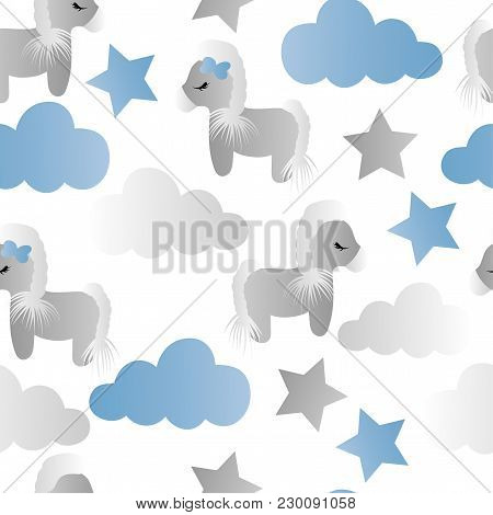 Seamless Pattern With A Cartoon Cute Toy Pony, Clouds And Stars On A White Background