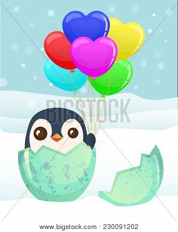 Penguin Hatched From The Egg. Penguin Cartoon Illustration