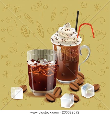 Vector Illustration In Realism 3d Style With Two Galsses Of Iced Coffee And Coctail