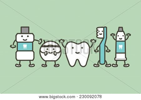 Healthy Tooth And Funny Friend Toothbrush, Toothpaste, Mouthwash And Floss, Dental Care Concept - Te
