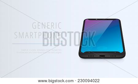 Vector Minimalistic 3d Isometric Illustration Cell Phone. Smartphone Perspective View. Top View. Moc
