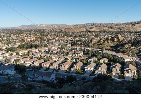 Hilltop view of single family homes in the Los Angeles suburb of Simi Valley in Ventura County California.