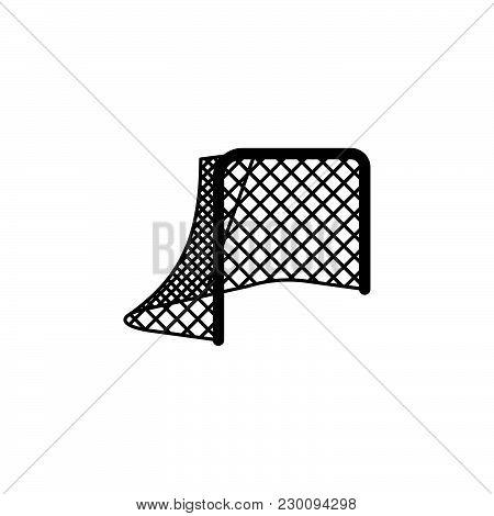 Hockey Net. Hockey Gates Icon White On A Black Background
