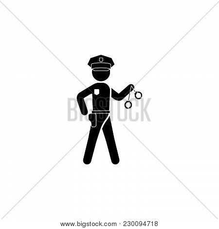 The Policeman With Handcuffs. Policeman Icon Black On White Background