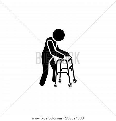 Old Man Icon. Man With Crutches Icon. Crutch Handrail Icon