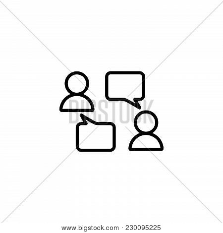 Web Line Icon. Business; Negotiations, Dialog Black On White Background