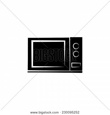 Microwave Oven Icon Black On White Background
