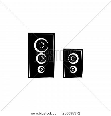 Loudspeakers Icon, Audio Music Sign Black On White Background