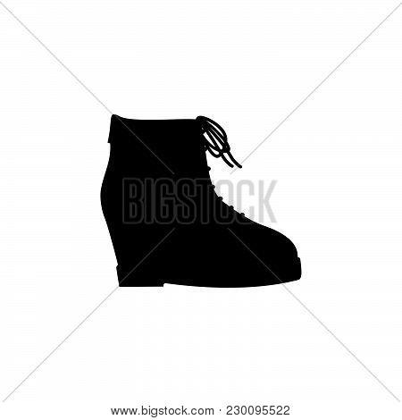Women Platform Shoe Icon Black On White Background