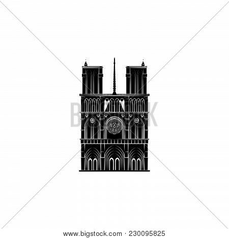 Notre Dame Cathedral Black On White Background